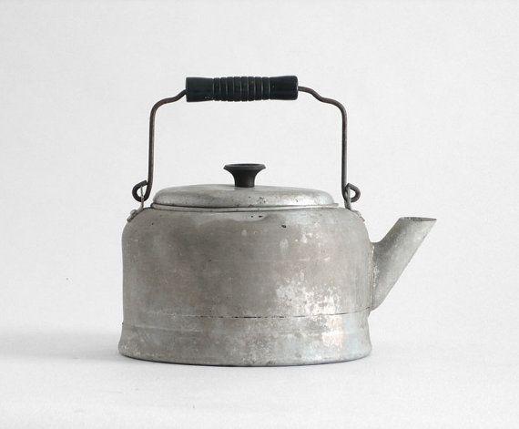 Vintage Tea Pot  Kettle Metal Kitchen Retro by Hindsvik on Etsy, $35.00