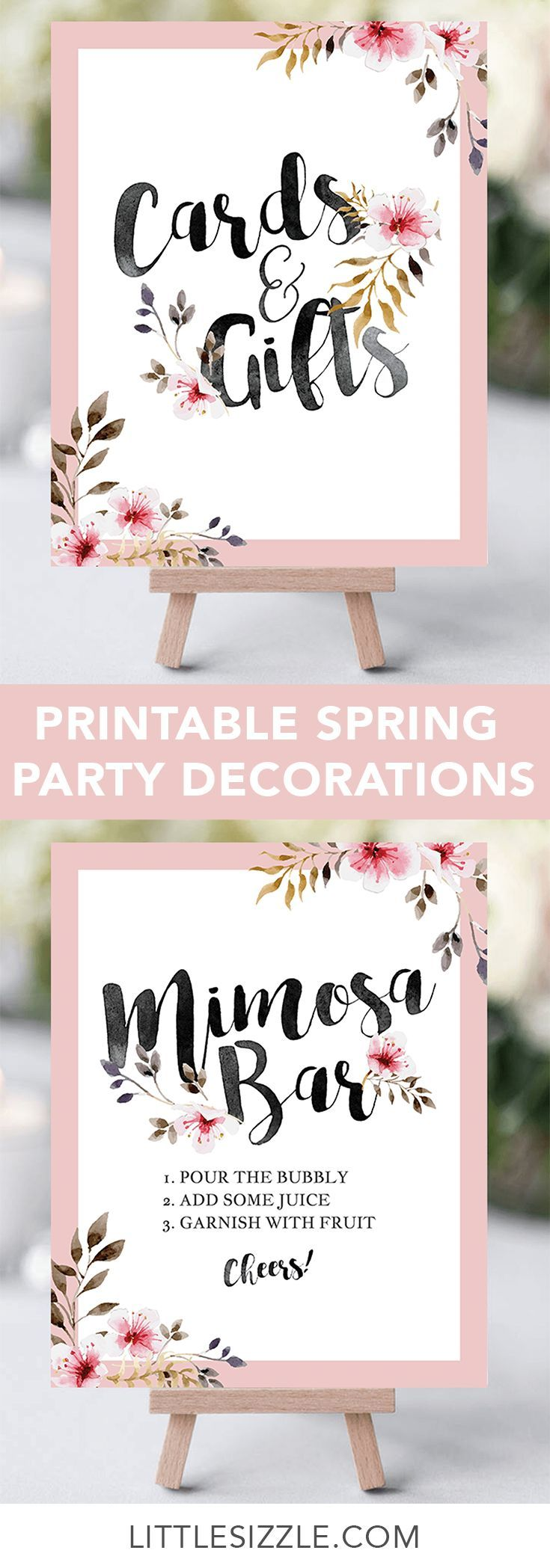 Spring party decorations by LittleSizzle. Printable DIY party table decor for any outdoor or garden themed party! Are you hosting a floral party? Print your own table signs and WOW your guests with these gorgeous blush pink floral table decorations with black calligraphy wordings. These DIY garden signs are perfect for a girl baby shower or a spring bridal shower. #DIY #printable #decorations #tablesigns #babyshowerideas #bridalshowerideas