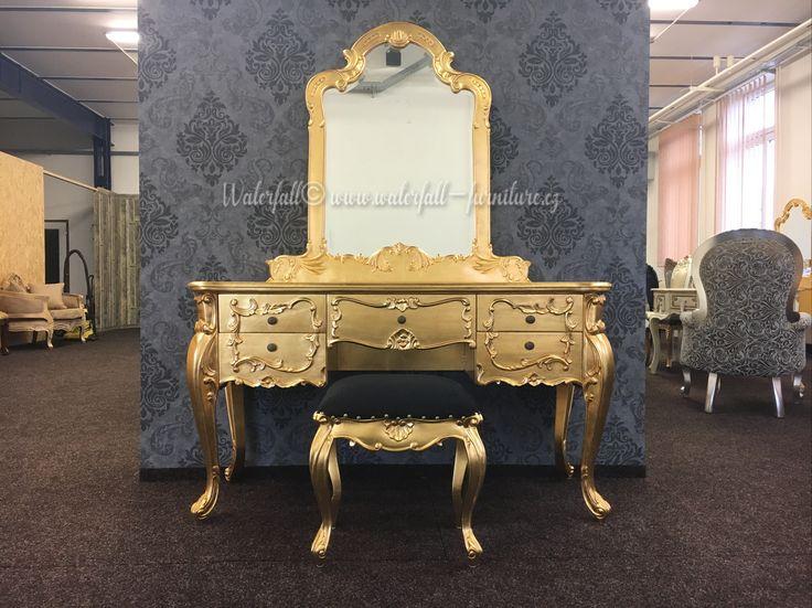 Zlatá toaletka, gold leaf dressing table