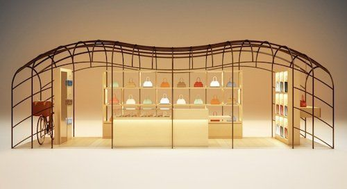 A moynat pop-up store will pop up in Galleries Lafayette starting on July 8th for 6 months. This is the first stop for the store as it will move to other cities, including stops in Asia. Designed by architect Gwenael Nicolas, the boutique's metal structure will house new creations from the luggage manufacturer which re-appeared on the luxury scene with the opening of its store on Paris' rue Saint-Honoré two years ago