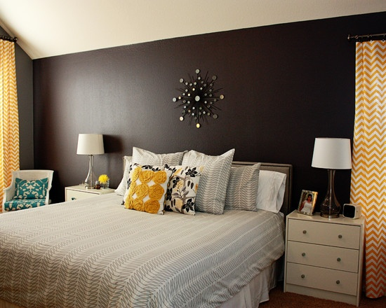 Eclectic bedroom yellow black white and grey design pictures remodel decor and ideas page - Black white grey and yellow bedroom ...