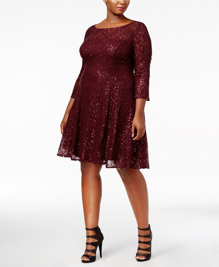 SL Fashions Plus Size Sequined Lace A-Line Dress - Plus Size Sequin Dress - SLP - Macy's