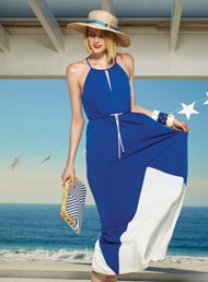 Really cute colbalt blue dress with white accents great for the summer.  Yes ladies at Marshalls