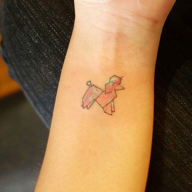 My first tattoo: a watercolor origami poodle by Wiji Lacsamana