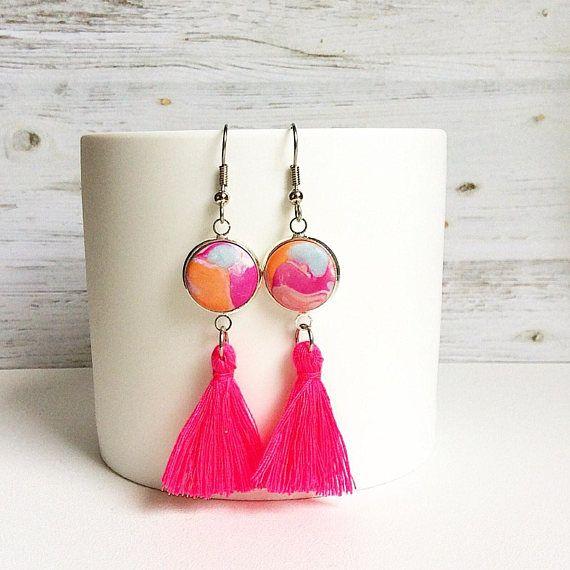 Tassel earrings hot pink tassel earrings tassel drop