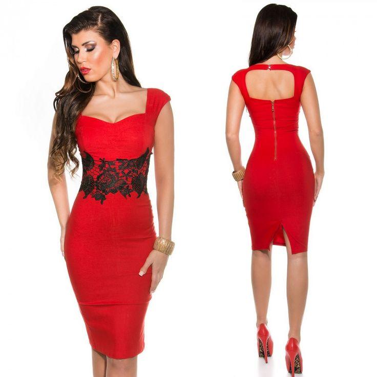 Piros fekete csipkés alkalmi ruha