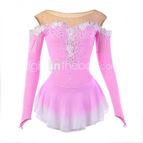 Vestido de Patinaje Sobre Hielo Mujer Mangas largas Patinaje Vestidos Alta elasticidad Figura vestido de patinajeTranspirable / Listo 2016 - $826.59
