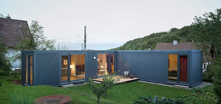 ContainerLove, a small house built from modules designed to resemble shipping containers. It has 2 bedrooms and room for a 3rd in about 969 ft2