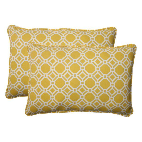 Revamp the appearance of your room with this Pillow Perfect Rossmere Corded Throw Pillow (Set of 2). This throw pillow set is made from 100% polyester, which makes it extremely durable. It has polyester fiber filling that ensures its softness. The rectangular throw pillow set features a yellow background with white geometric pattern that adds to its charm. It is resistant to stains and fading that ensures it maintains its look for a long time. This Rossmere Corded Throw Pillow (Set of 2)…