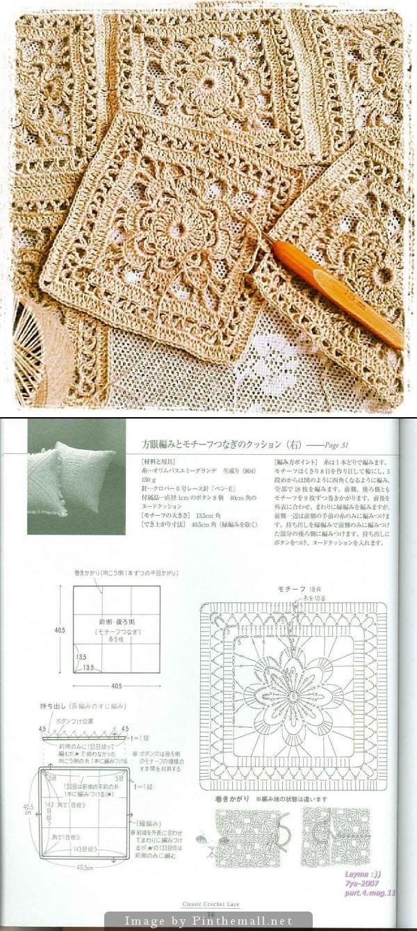Flower lace square. Photo by otanucha http://instagram.com/p/lrvf2pN2pF/ ~~ Chart http://fotki.yandex.ru/next/users/olesyarudova/album/163317/view/444594?page=2