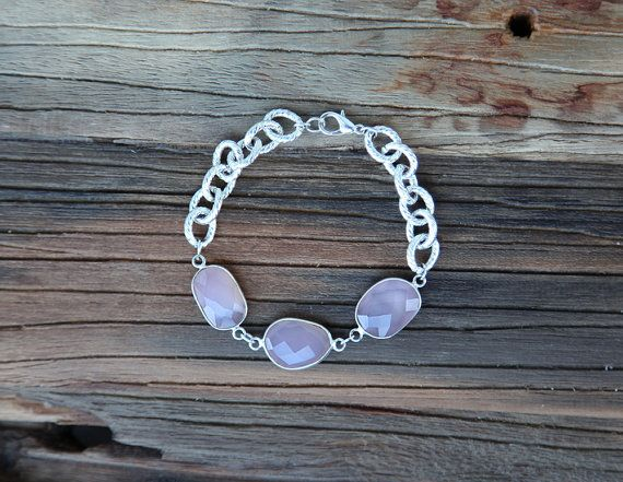 Rose quartz and sterling silver plated chain bracelet