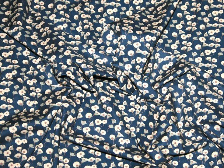 Floral Print Cotton Lawn Dress Fabric Denim Blue | Fabric | Dress Fabrics | Minerva Crafts