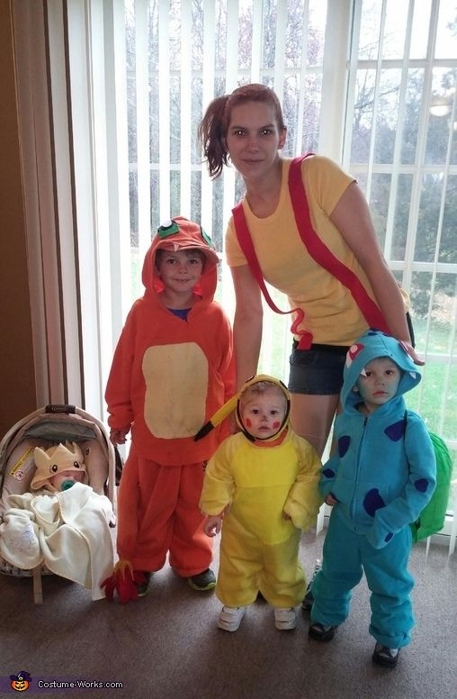Sarah: The baby is togepi, my one year old is pikachu, my two year old is bulbasaur, my six year old is charmander and I am Misty. We went with the...