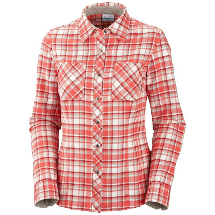 Women's Red Hibiscus Columbia Flannel Long Sleeve Shirt  - Outfitters, Grouse Mountain, Vancouver