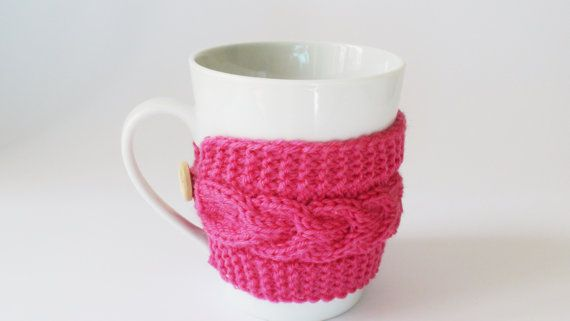Fuchsia mug cozy knit coffee cozy cup warmer by HelenKurtidu