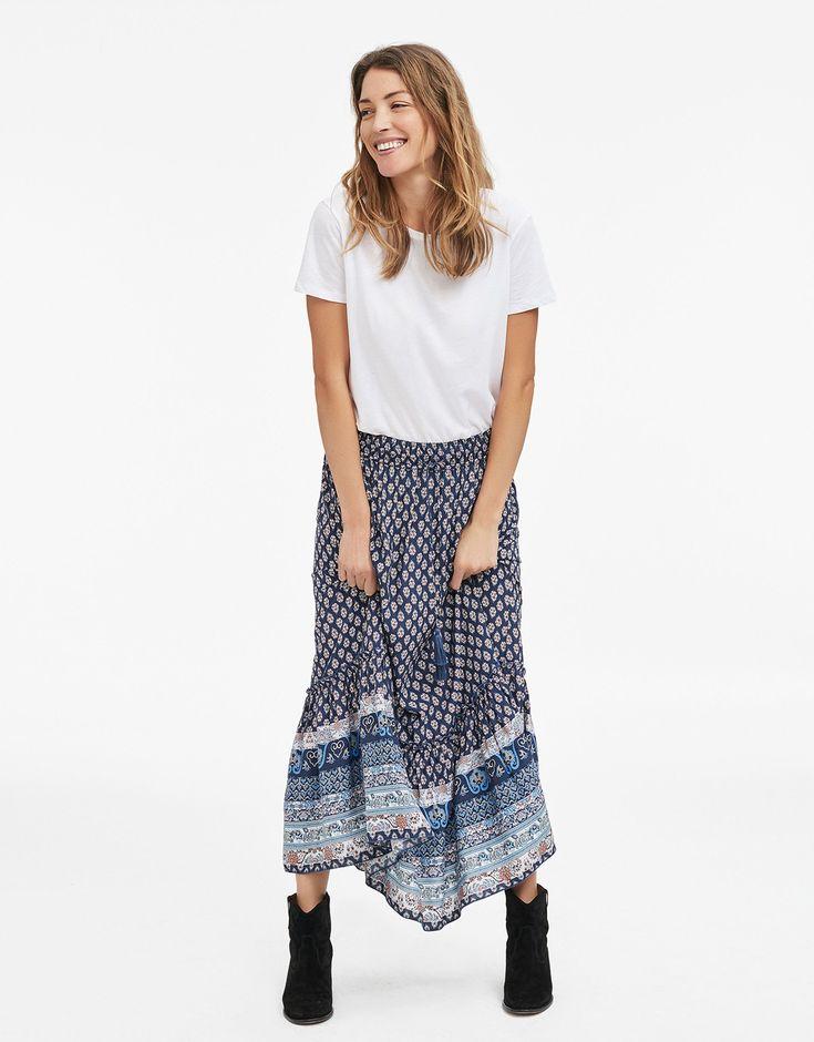 RIHANNA kjol blå   Print   Skirt   Kjolar   Mode   Indiska.com