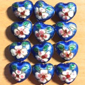 Cloisonne Hearts - Capri Blue, 24mm, 12 pcs