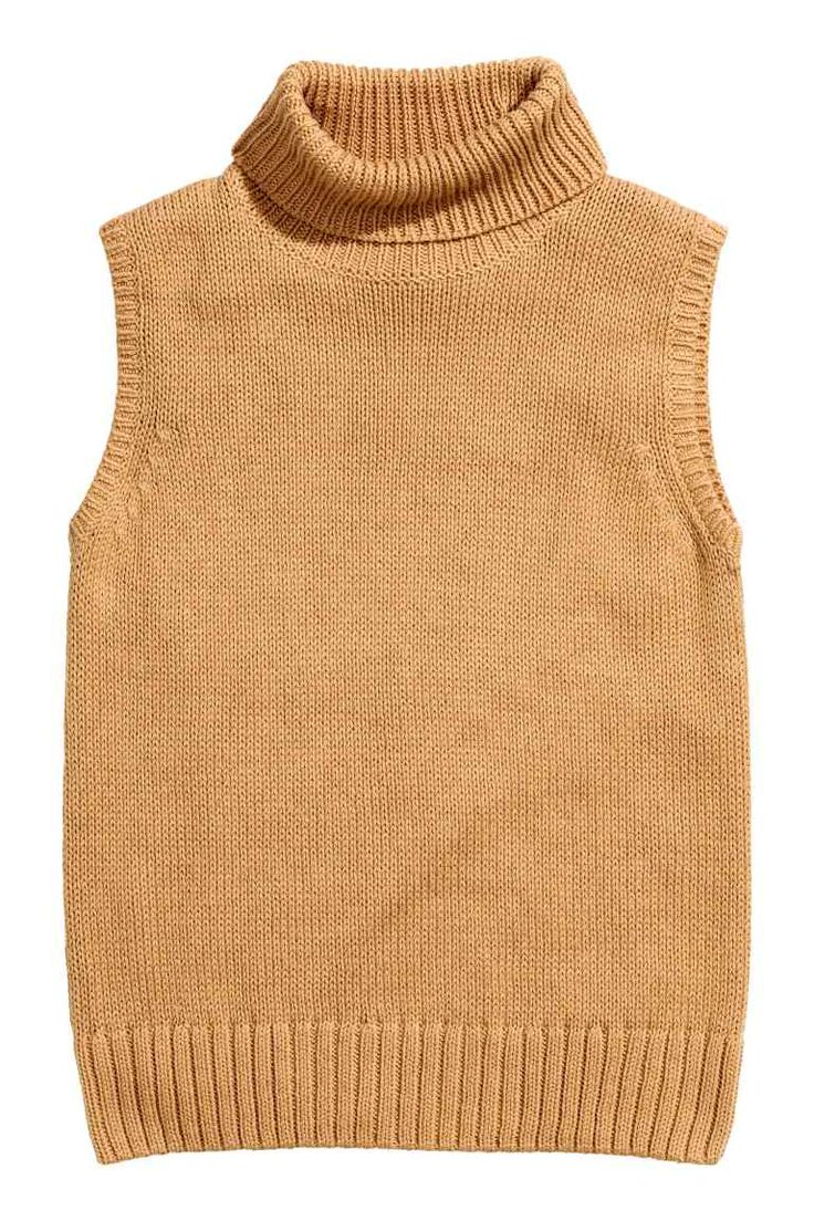 Sleeveless polo-neck jumper: Sleeveless polo-neck jumper knitted in a soft cotton blend with ribbing around the armholes and hem.