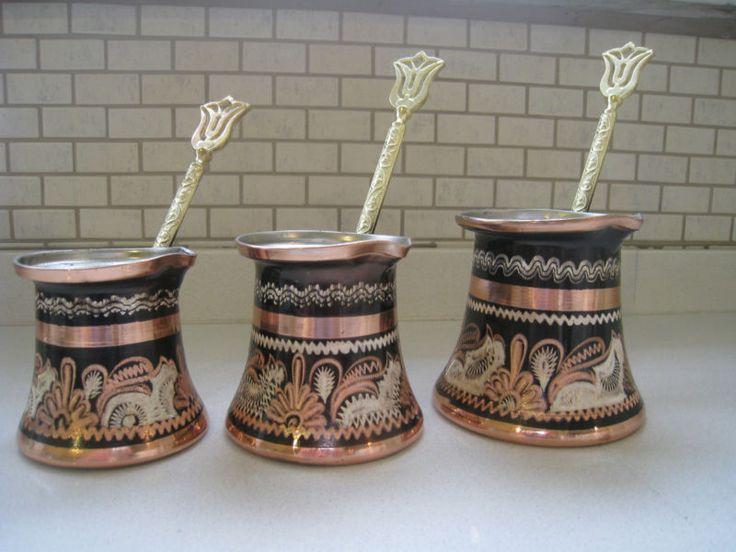 Set Of 3turkish Traditional Coffee Maker Pot Cezve Totally Handmade ...