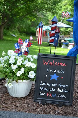 annual memorial day party prep, outdoor living, patriotic decor ideas, seasonal holiday decor, Just a reminder why we really are gathering besides the endless buffet of food and drinks All crafty ideas from things we already own no extra cash out of pocket