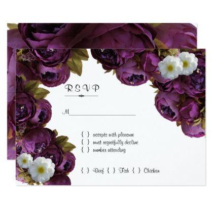 Deep Purple White Floral Response Card - wedding invitations diy cyo special idea personalize card
