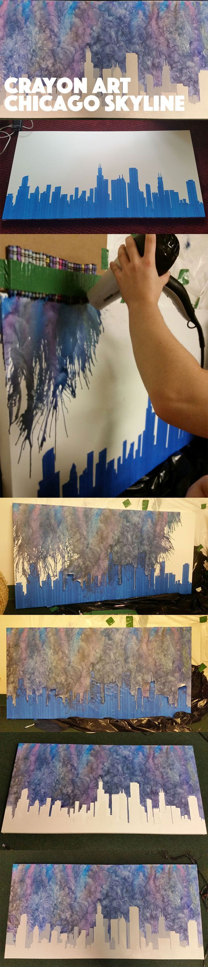 Crayon Art - Chicago Skyline. Melted crayons and finger smudges to create the background. Paint for the skyline.
