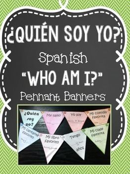 "Get to know your students with this ""craftivity"" for your Spanish class. In this Spanish activity, students use the template provided to make a pennant banner all about themselves. Spanish prompts are given and students will fill in answers, decorate, color, cut out, and string together their pennants to display in the classroom or on bulletin boards."