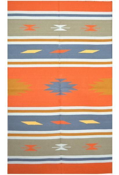 @crimson_angan Modern Look Flat Weave Cotton Dhurrie Orange Rugs - Southwestern Rugs (3'X5').  This is a vibrant southwestern style elegantly handcrafted rug by indian artisans using orange as base color. It is a pure cotton reversible area rugs with fringes on both ends. This cheap rugs can be used as living room rugs, floor rugs, kitchen rugs, children's rug etc. www.crimsoncourtyard.com