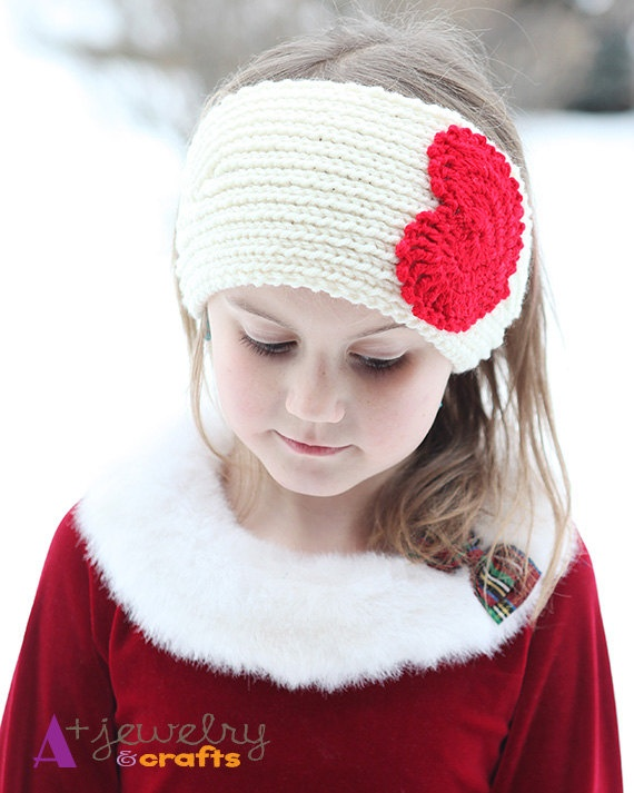 Hearts, Valentine's headband, red, cream, heart, for girl, girls, knit, handmade, winter hair accessory. $14.00, via Etsy.