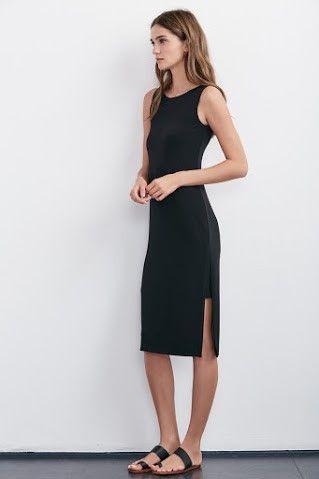 Black sleeveless midi dress by Velvet by Graham & Spencer #LBD #shoppetite #petitefashion #petitedresses