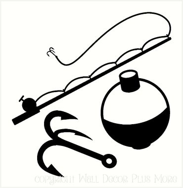 Fishing tackle Wall Decal Stickers Fishing Pole hook and bobber for the DIY project or man cave.