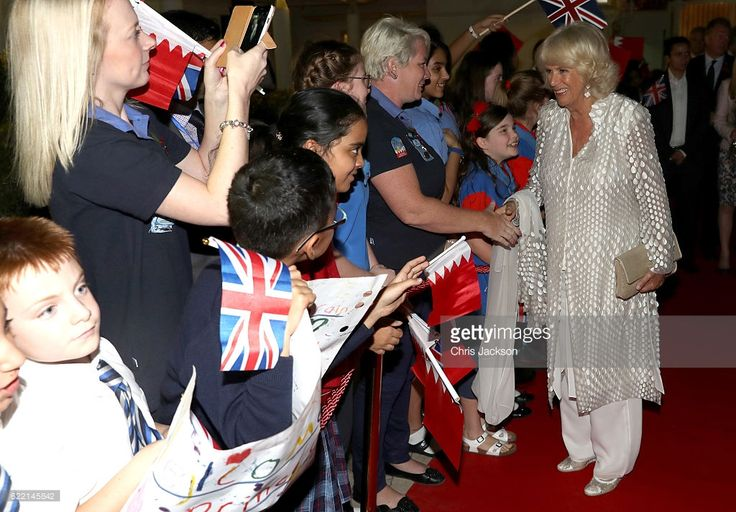 Camilla, Duchess of Cornwall is greeted by schoolchilden as she attends a reception at the British Embassy on November 10, 2016 in Manama, Bahrain. The Prince of Wales and the Duchess of Cornwall are on a Royal tour of the Middle East which began with Oman, the UAE and finally Bahrain.