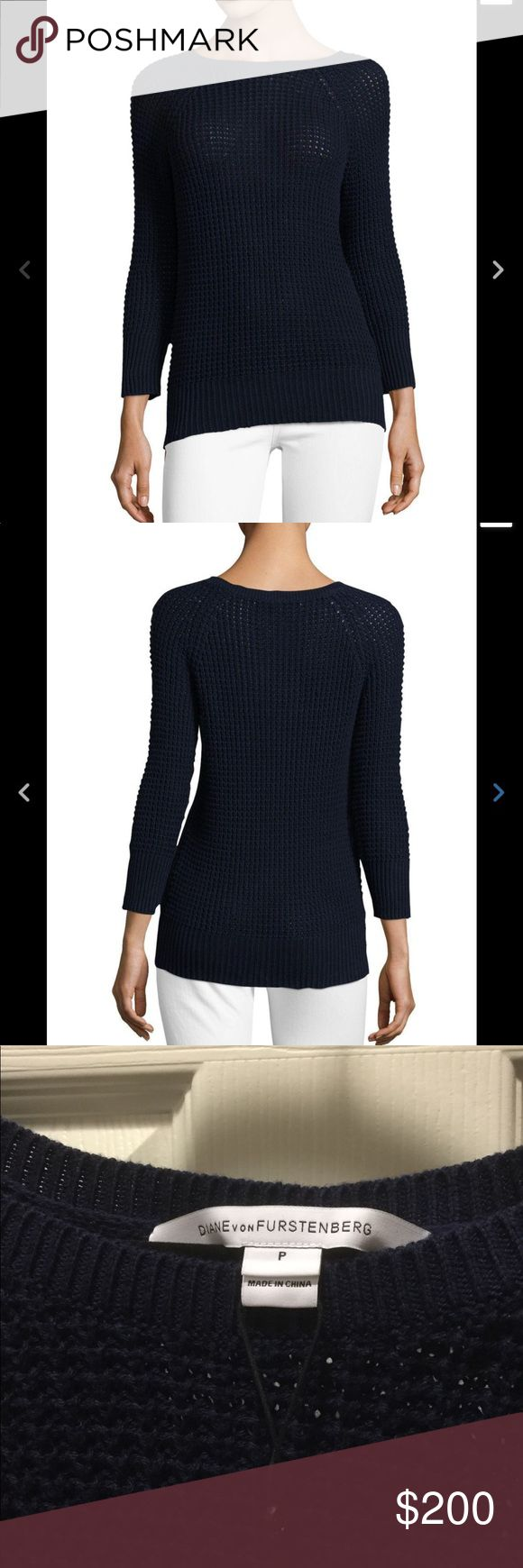 Diane von Furstenberg DVF Navy Waffle Pullover DVF Waffle Pullover Cotton Sweater. Fitted silhouette. Wide boat neckline. Raglan bracelet length sleeves. Ribbed neckline, cuffs and hemline. Medium waffle knit. Navy blue color.   Fabric Detail: 100% Cotton Diane Von Furstenberg Sweaters