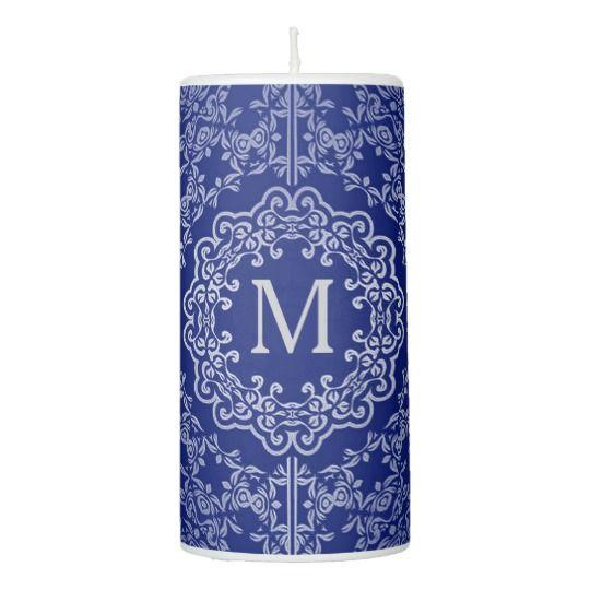 Monogram Blue & Silver Filigree Motif Candle