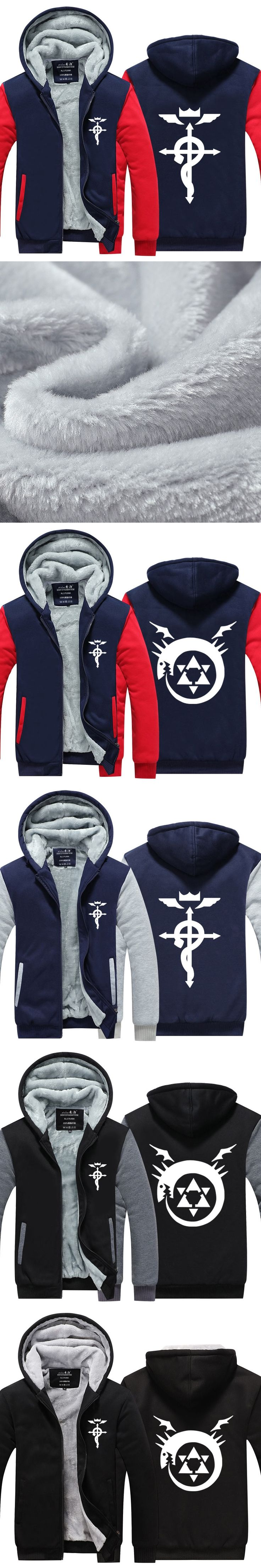 Men Anime Fullmetal Alchemist Print Mens Hoodies Zipper Hoodie Cotton Jacket Coat Winter Skate Men's Fleece Sweatshirt Tracksuit