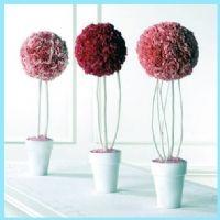köpük top ile çiçek yapımı, strafor çiçek topu, köpük top ile masa üstü çiçeği yapımı,