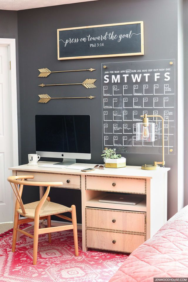 Create a cohesive statement by picking a metallic accent color and using it throughout your office.