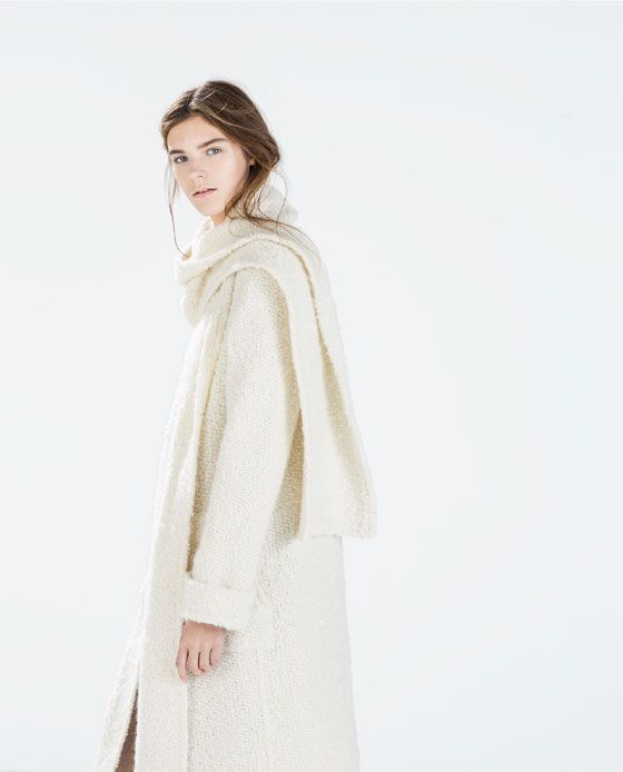 Image 4 of STUDIO KNIT COAT WITH SCARF COLLAR from Zara