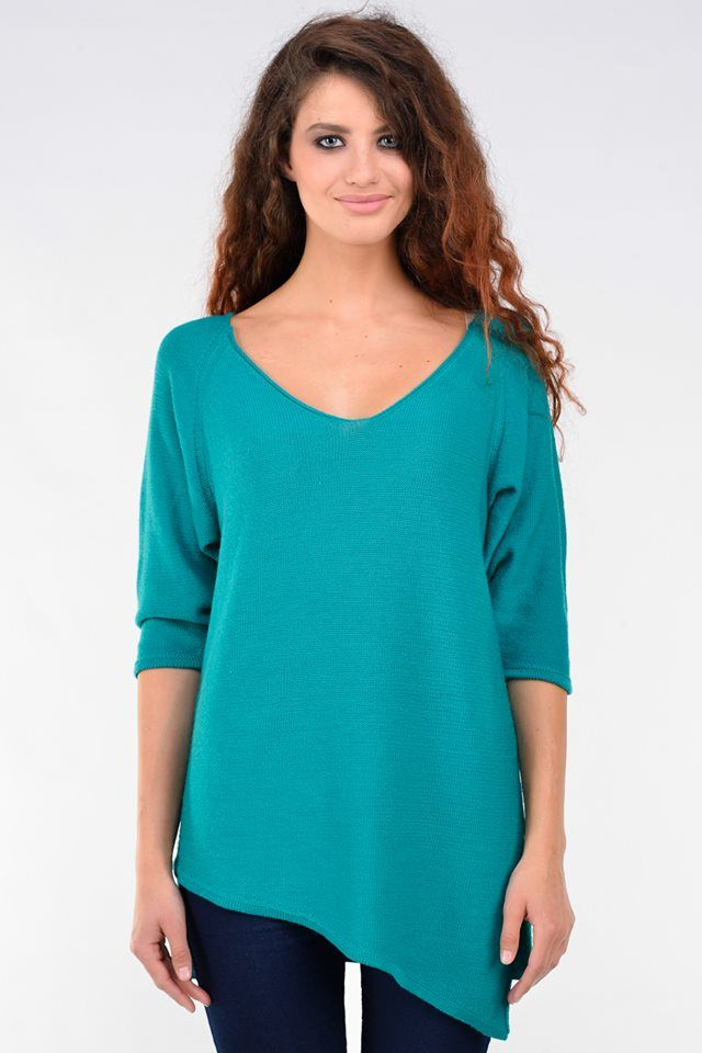 Turquoise sweater of merino and cashmere  - 74,15€