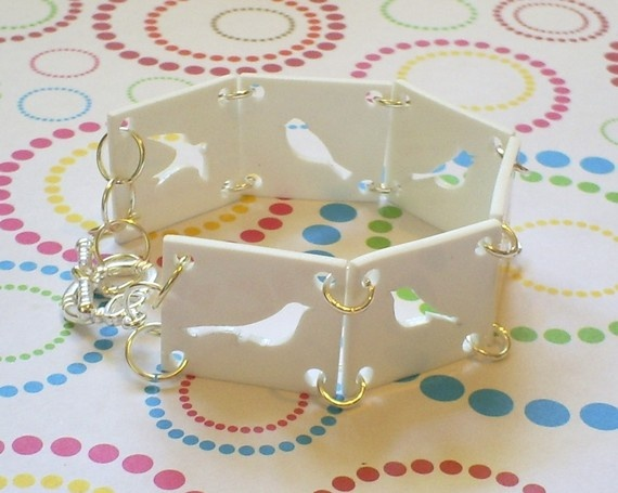 Bright White Bird Silhouette Bracelet