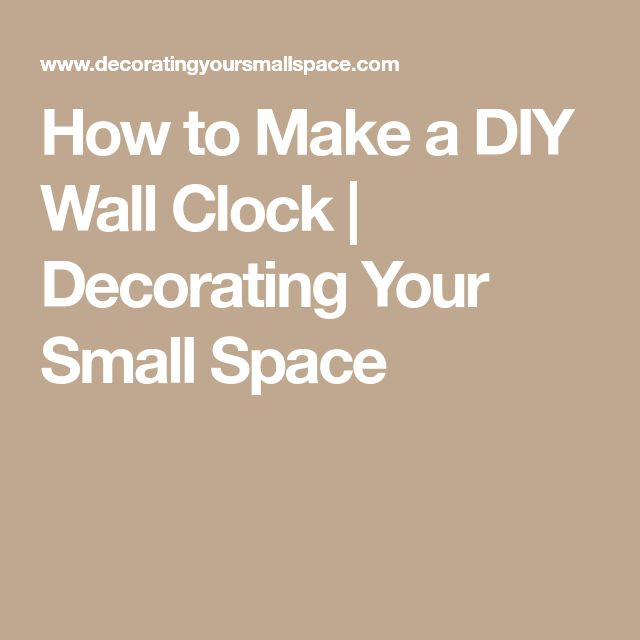 how to make a wall clock from scratch