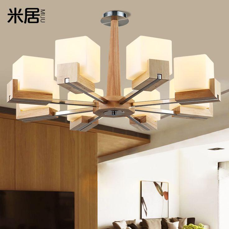 Nordic IKEA гостиной люстра ретро спальня лампа минималистский атмосфера привели дерева дуба освещение ресторана - Taobao