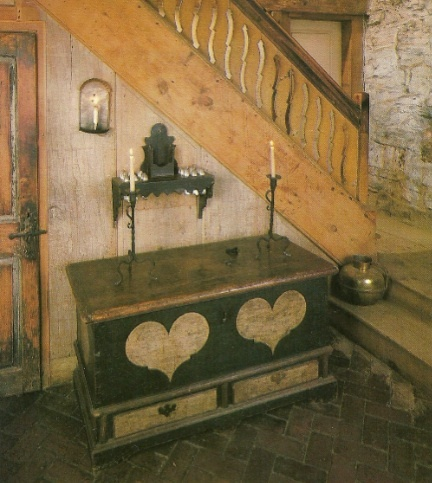 best PA Dutch painted chest ever, in the home of Frolic Weymouth | via Kitchens I Have Loved