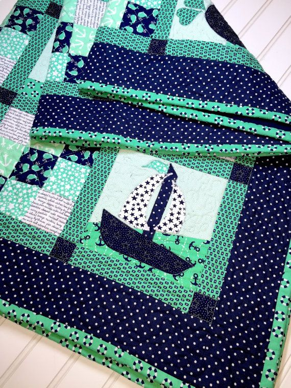 SALE Sailboat Baby Boy Quilt, baby quilt,Nautical baby Quilt, sailboat baby blanket, X -large, boy quilt, baby quilt handmade, baby quilt