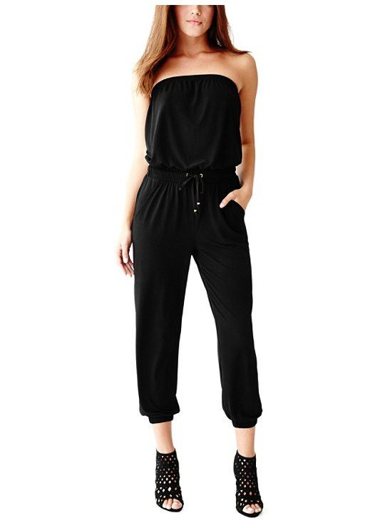 Guess Black Strapless jumpsuit/ Woman's designer clothing