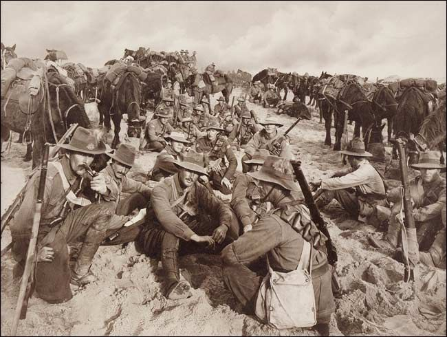 A Halt in the Desert with the Australian Light Horse Brigade by Frank Hurley
