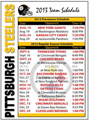 2013 Pittsburgh Steelers Football Schedule go steelers