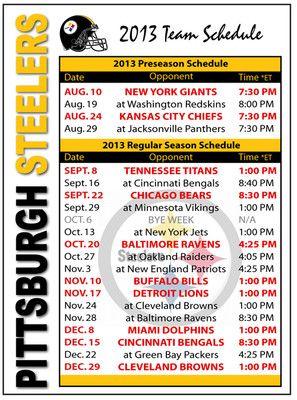 2013 Pittsburgh Steelers Football Schedule go steelers