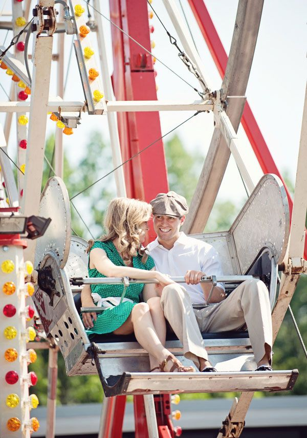 Vintage Carnival Engagement Photos Leah Moss Photography (36) Ha so funny this is our photographer, shes pinterest famous :)