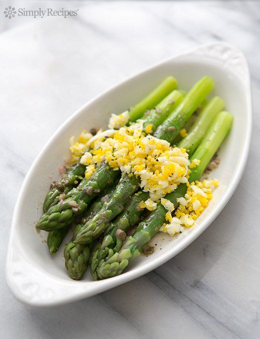 Boiled Asparagus with Sieved Eggs and Caper Vinaigrette ~ Asparagus spears, boiled until crisp tender, served with grated boiled eggs and a caper vinaigrette. ~ SimplyRecipes.com